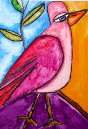 Pink bird of happiness
