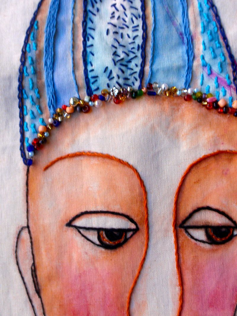 Lady with skull cap, detail