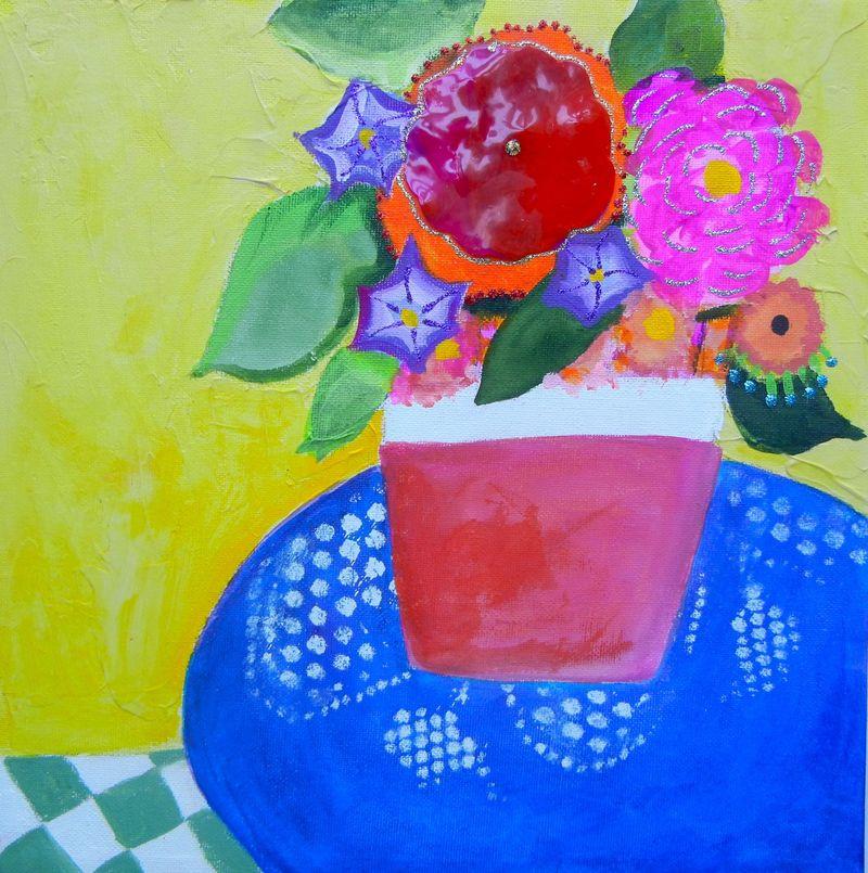 Vase on a doily
