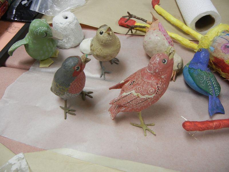 Vintage paper mache birds