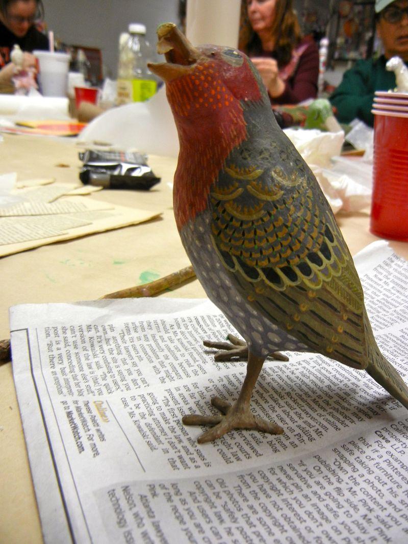 Sweet birdie waiting for beak repair