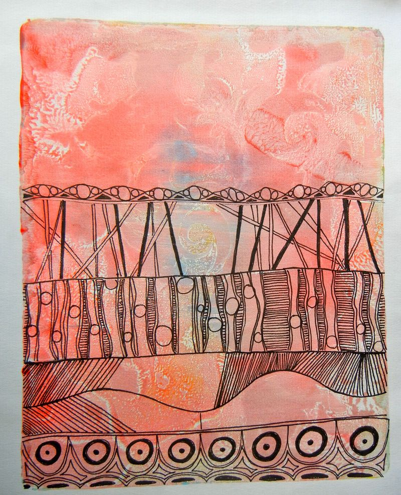 Gelli plate and tangles