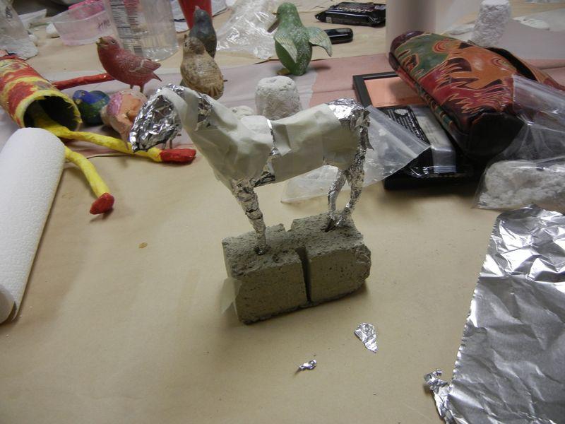 Wip horse paper mache