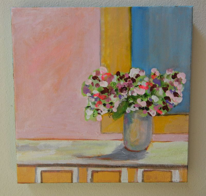 Sweet Peas 12%22X12%22 wrap canvas